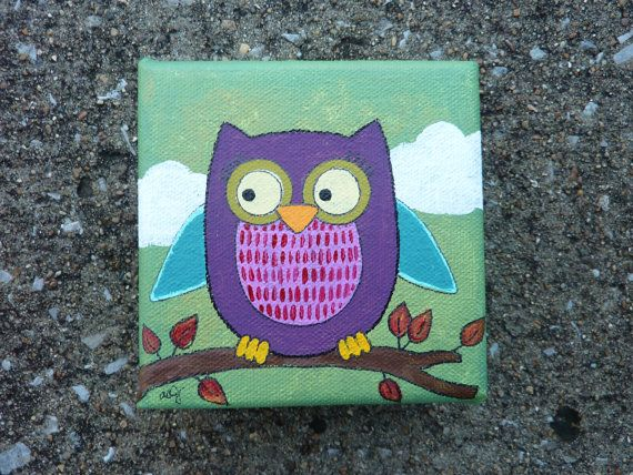 Original Mini Canvas Painting Purple Owl By EverettandEloise 2800