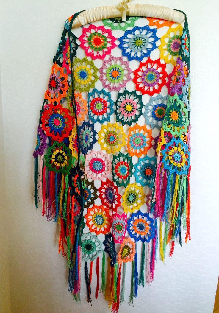 A personal favourite from my Etsy shop https://www.etsy.com/listing/271592273/colourful-crochet-shawl-boho-gypsy-shawl