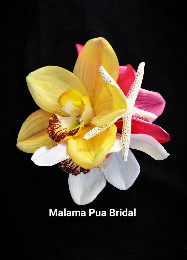 TROPICAL HAIR FLOWERS, Silk flowers, hair clip, Wedding flowers, Bridal headpiece, Tropical Headpiece, Fascinator, Beach Wedding, Hawaiian by MalamaPuaBridal on Etsy
