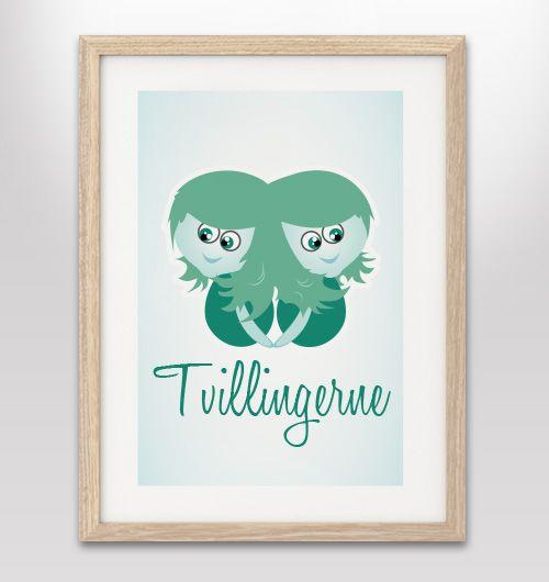 "Plakat med stjernetegn ""tvillingerne"" - FLERE FARVER/VARIANTER"