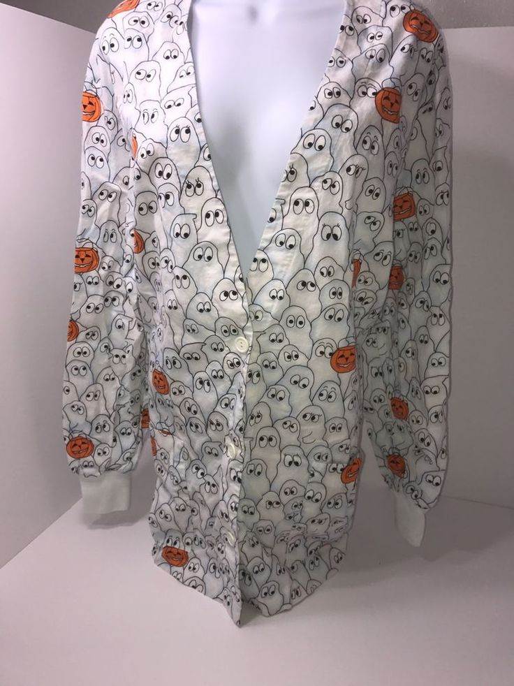 Peaches Uniforms Size Extra Large Scrub Top Long Sleeve Ghost Pumpkin Nurse  | eBay