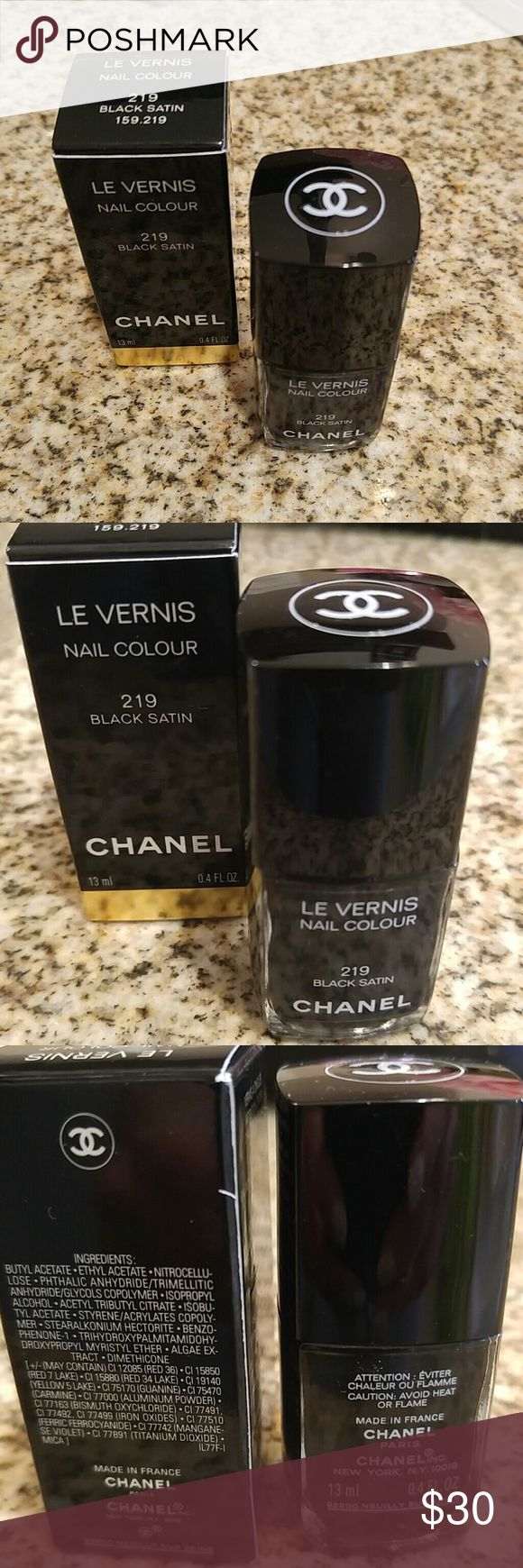 CHANEL NAIL POLISH CHANEL nail polish in BLACK SATIN. a celebrity favorite. Super chic glossy dark nails. A little rebellious and a lot of elegance. CHANEL Makeup