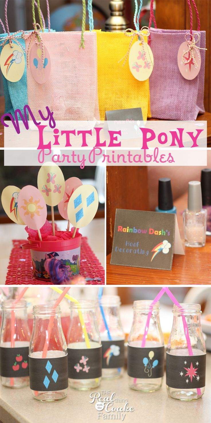 My Little Pony Birthday Party adorable printables. Perfect printable pack to make a the party cute and quick.