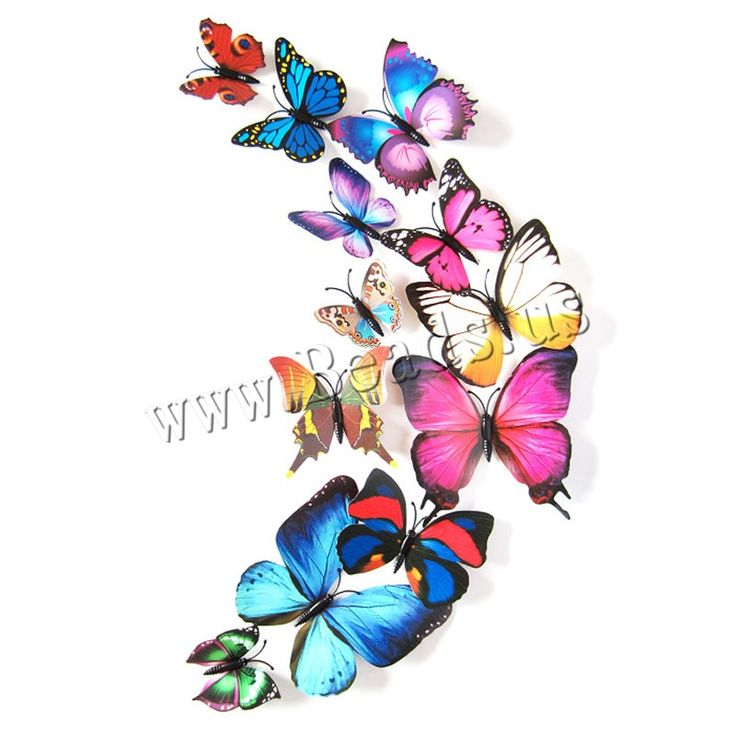 Fridge Magnets, PVC Plastic, with Magnetic Hematite, Butterfly