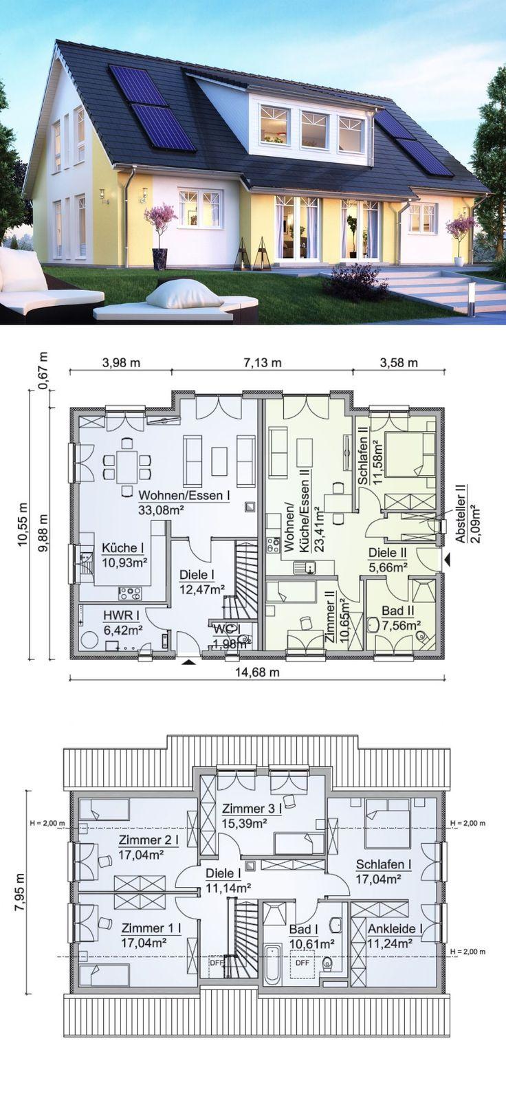 Einfamilienhaus mit Einliegerwohnung im Landhaus Design Grundriss mit Satteldach… – Einfamilienhaus – Ideen & Grundrisse