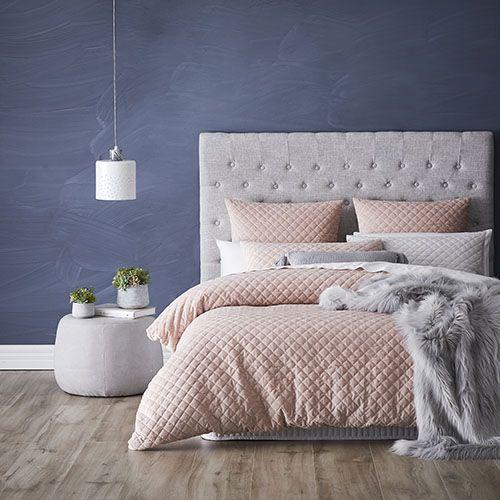 Mercer + Reid - Blake Quilted Velvet Quilt Cover Pink - Bedroom Quilt Covers & Coverlets - Mercer + Reid - Adairs Online