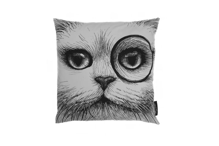 Cat Monocle/No Monocle Cushion White
