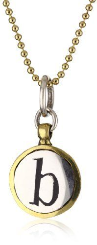 """Waxing Poetic """"Monogram Insignia"""" B Charm, 18"""" Waxing Poetic. $100.00. Use a soft polish cloth for cleaning and store in a resealable plastic bag or jewelry pouch; we recommend not wearing in the shower, hot tub, sauna, pool, or ocean. This sweet charm was made with nostalgia in mind and reminiscent of childhood memories. Made in Indonesia. Hand crafted in sterling silver with black resin letter inset and brass bezel"""