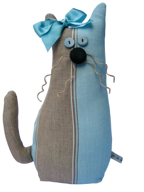 Handmade Oatmeal and Turquoise Cat Doorstop (Gift Wrapped and Gorgeous)