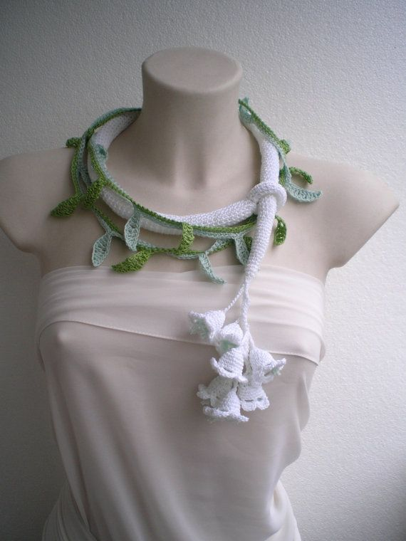 Lily of the Valley Necklace Crocheted Woman Collar by NonnaLia