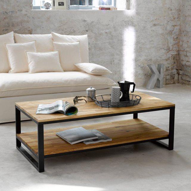 Table basse, double plateau, chêne massif abouté e La Redoute Interieurs | La Redoute Mobile