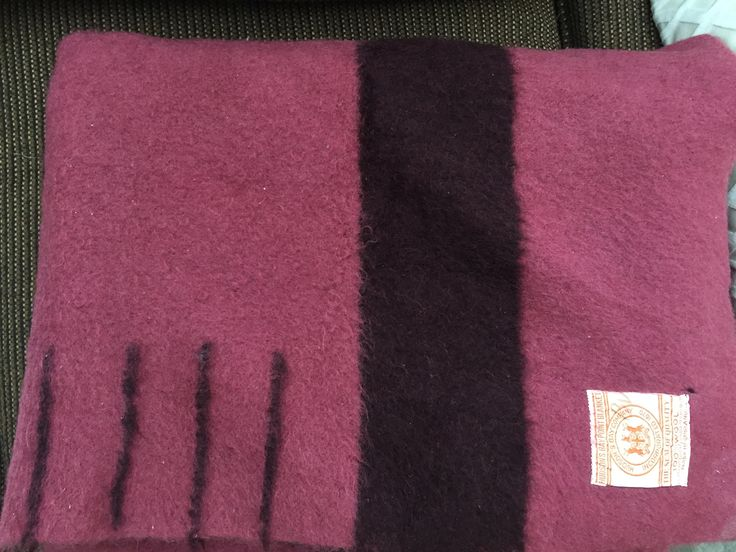 """Hudson's Bay wool blanket: 4 point, 66""""x84"""", Wild Cranberry color,  1930's."""