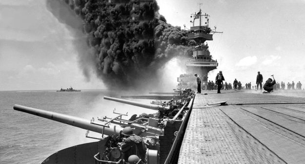 USS Yorktown (CV-5) damaged at the Battle of Midway. US Navy Photo