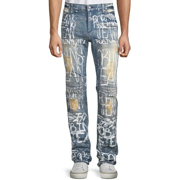 Robin's Jean Graffiti Jeans ($190) ❤ liked on Polyvore featuring men's fashion, men's clothing, men's jeans, mens distressed jeans, mens jeans, mens ripped jeans, mens destroyed jeans and mens zipper jeans