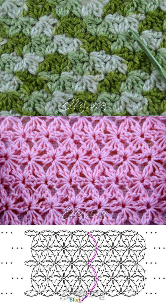Узор звездочки-цветочки по кругу   Crochet by Ellej   Вязание крючком от Елены…