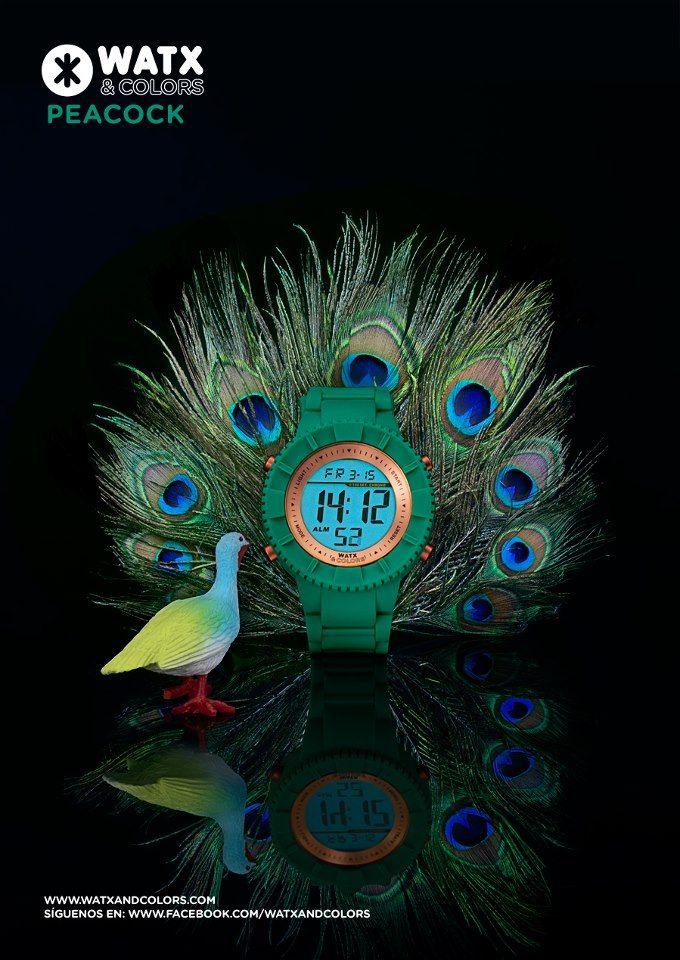 WATX & COLORS Peacock (verde neón): Relojes de colores tendencia con esferas y correas intercambiables. ¡Más de 100 combinaciones diferentes para estrenar reloj cada día!