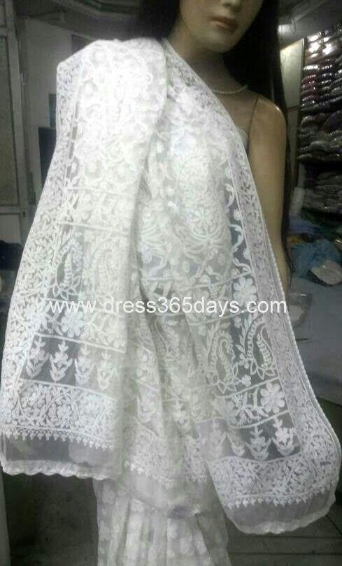 White Chikan Saree