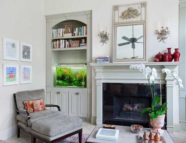 Aquarium Wohnzimmer Einrichtung Eingebaut Nische Regal