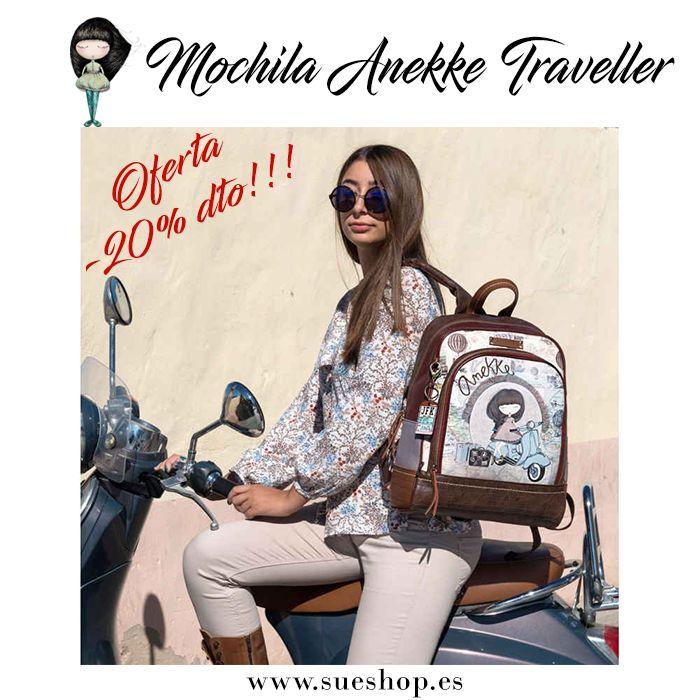 """Descubre la Mochila Anekke """"Traveller"""", con compartimento principal con un bolsillo específico para guardar tu portátil o tablet, además de un bolsillo delantero con varios apartados en su interior para llevarlo todo bien organizado y un asa corta para llevarla en la mano. Adaptable a carro.  @waubags.com #anekke #mochila #adaptableacarro #portatil #tablet #descuento #oferta #rebajas #waubags"""