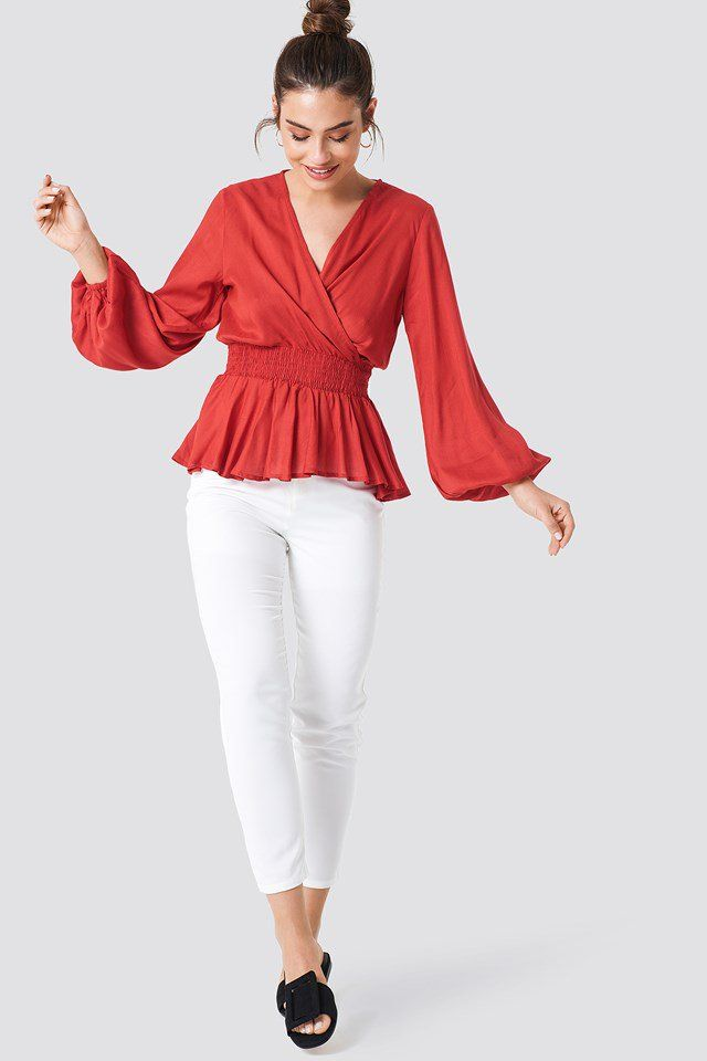 4a2ed28c776ba5 Shirred Waist Balloon Sleeve Blouse | | VOUGE | | Red blouses ...