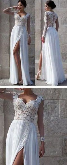 Elegant Appliques Top White Long Prom Dress,Long Sleeves prom dresses,long evening dress,cheap prom dresses