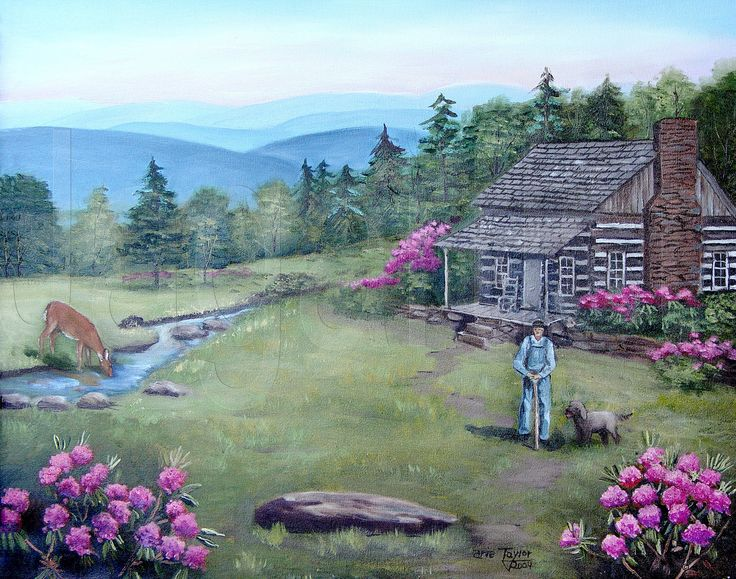 Folk art log cabin prints blue ridge mountain original