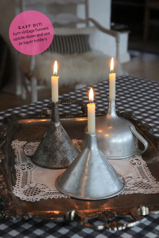 Vintage funnels as taper holders   At Home in Love