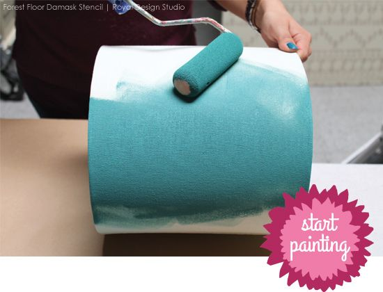 How to stencil project. Stencil a lampshade with Chalk Paint® decorative paint and Royal Design Studio Stencils.