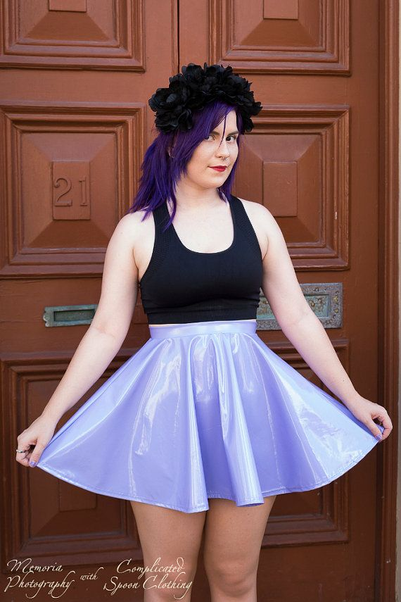 This is a sexy Lilac PVC Skater Skirt!