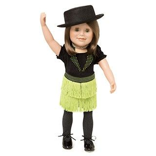 Happy Tap: Your doll will be doing a happy tap dance in this fun outfit that includes a velvet body suit, textured tights, bright green fringed skirt, sparkly necklace, top hat and tap shoes that really tap! The set also includes journal pages that talk about a Canadian icon, Stomping Tom Connors.