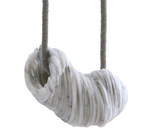 Tarja Tuupanen Necklace: Untitled, 2014 Ready-made marble tableware, velour sticker, steelwire stonepart 10 x 6 x 4-5 cm; length of the necklace: Photo: Lassi Rinno