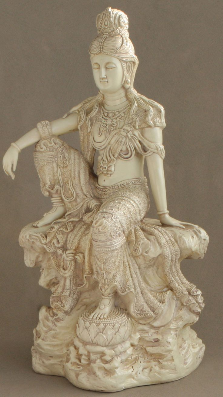 Relaxed Kuan Yin Garden Statue In Stone Finish, 18.5 Inches