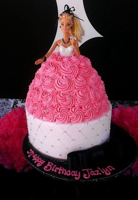 Gorgeous cake at a Barbie party!  See more party ideas at CatchMyParty.com!  #partyideas #barbie