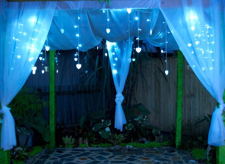 The Wedding Pergola lit up.........