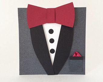 Groomsman Wedding Invitation Black Tuxedo Bow by CallMeCraftie
