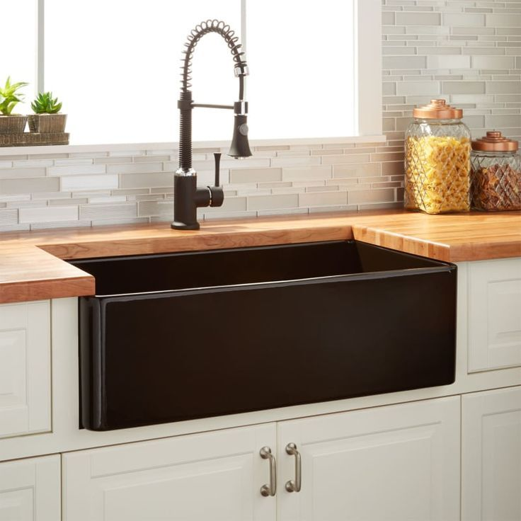 Signature Hardware 934796 30 In 2020 Black Farmhouse Sink Fireclay Farmhouse Sink Kitchen Trends