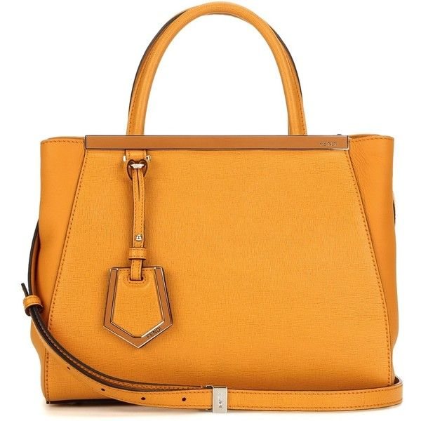 Fendi 2Jours Petite Leather Tote (77,975 PHP) ❤ liked on Polyvore featuring bags, handbags, tote bags, orange, orange leather tote, orange leather handbag, orange tote, leather handbags and handbags totes