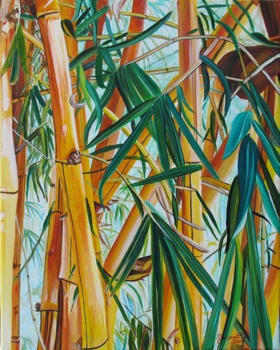 Bambus Druck Gelbe Bambus Kunst Orientalische Bambus Etsy Bamboo Art Yellow Bamboo Yellow Wall Art