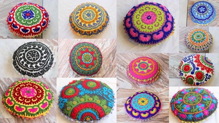 "Mix 5 Pcs Lot Decorative Uzbek Round Suzani Embroidered Cushion Cover Pillow 16"" #KhushiHandicraft #ArtsCraftsMissionStyle"