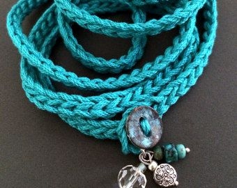 Crochet wrap charm bracelet or necklace in rose by CoffyCrochet