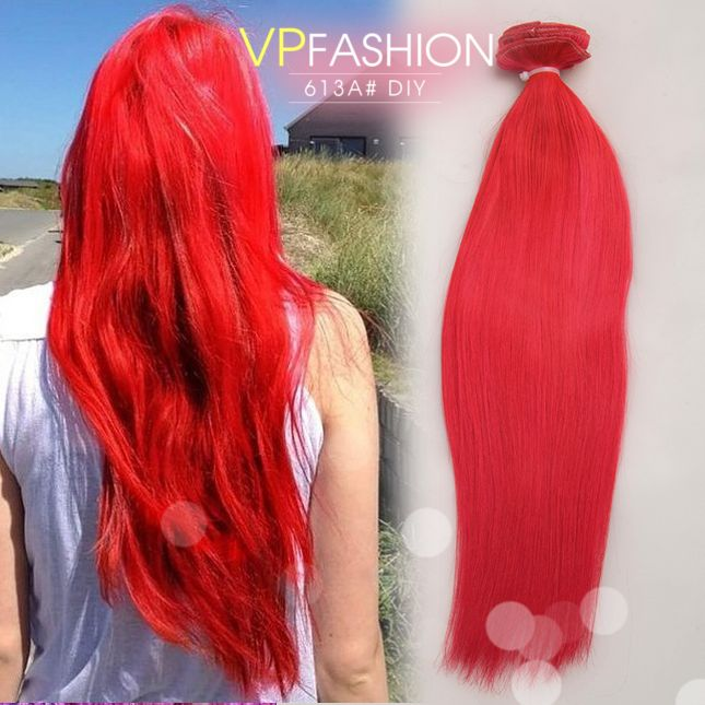 Hot Solid Red Mermaid Colorful India Remy Clip In Hair