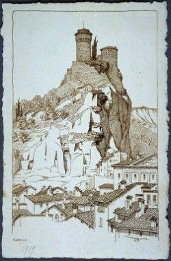 Rocca di Brisighella. Incisione Giuseppe Ugonia