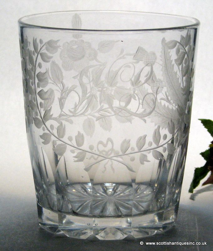 The Union engraving on this example is of the highest order. Scottish thistles, English roses and the Shamrocks of Ireland were engraved on glasses to celebrate the Union with Ireland in in 1801.The thistle flowers exemplify the attention to detail and overall quality, they have been cut, polished and over-scored.   http://scottishantiques.com/regency-glass/rummer/Unionengravedbeaker1830#.VjN8tdLhBeh