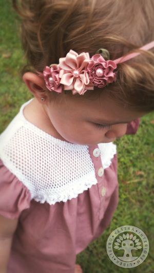 Dusty Rose & Aster Ribbon Flower Elastic Headband by Corinne Jade