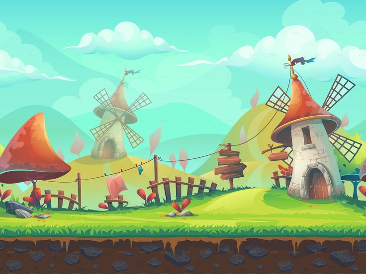 Seamless Cartoon Landscape with a Windmill | GraphicRiver