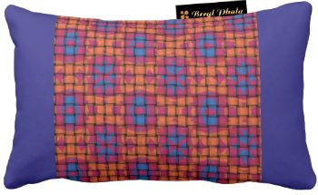 Cushion Blue and Orange Base Weave Print Design - Rectangle | Accent your home with suede vision digital print cushion. This luxury cushion looks great in your house. The perfect complement to your couch, this... view details on www.treniq.com