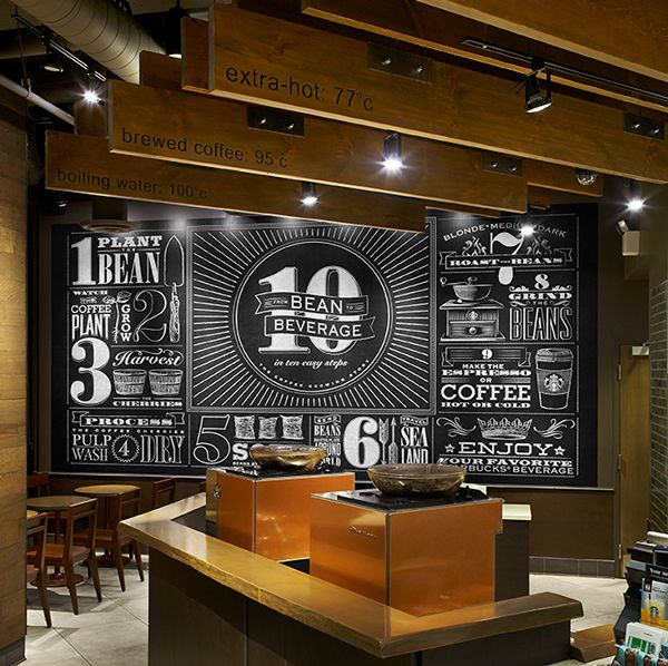 20ft x 10ft mural located in Toronto at Starbucks' Bloor and Jarvis location tells the story of how coffee starts off as a plant and ends up as a beverage.