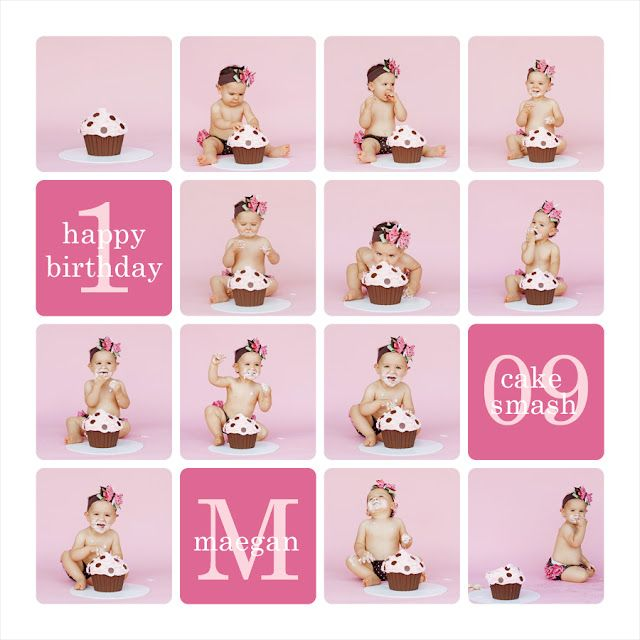 smash cake picture collage from baby making machine blog