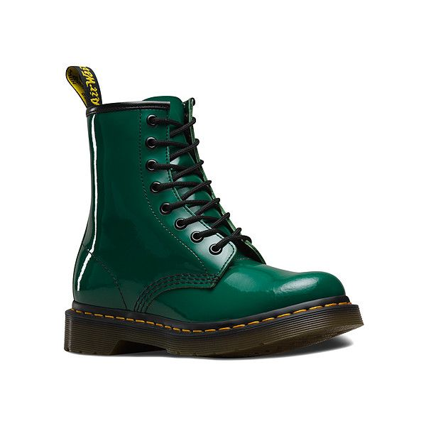 Dr. Martens 1460 W 8 Boots (165 AUD) ❤ liked on Polyvore featuring shoes, boots, forest patent, men, patent shoes, dr martens boots, dr. martens, dr martens footwear and patent boots