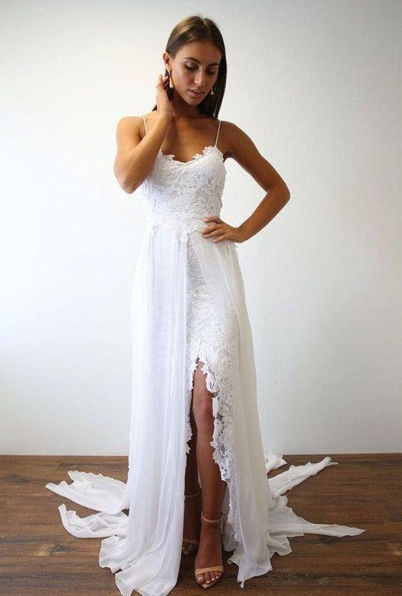 a5cf0feb4c Charming Spaghetti Strap A-line Grace Lace Beach Wedding Dresses Boho With  Slit BMD1023